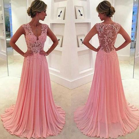 Pink Prom Dress, Lace Prom Dress, V Neck Prom Dress, Sheer Back Prom Dress, Prom Dresses 2016, Cheap Formal Dresses, Elegant Prom Dress, Long Prom Dress, Cheap Prom Dresses