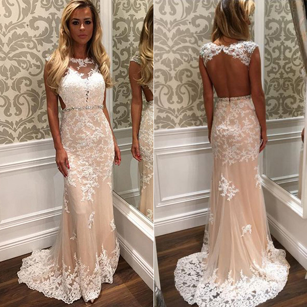 Champagne Evening Dress, Mermaid Evening Dress, Long Evening Dress, Lace Evening Dress, Backless Evening Dress, Sexy Evening Dress, Formal Party Dresses, Cheap Formal Dresses