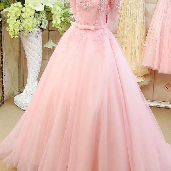 Half Sleeve Prom Dresses, Blush Pink Prom Dress, Elegant Prom Dress, Lace Prom Dress, A Line Prom Dress, Prom Dresses 2016, Tulle Prom Dress, Prom Dresses 2017