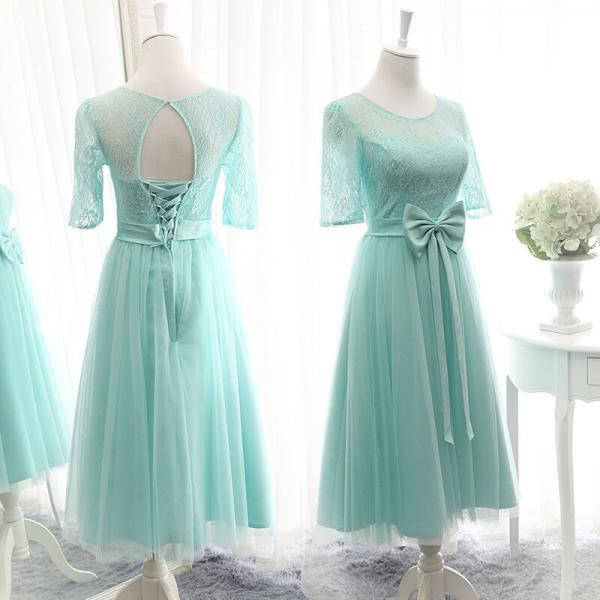 Knee Length Bridesmaid Dress, Tulle Bridesmaid Dress, Lace Bridesmaid Dress, Mint Green Bridesmaid Dress, Bridesmaid Dresses 2017, Cheap Bridesmaid Dress, Wedding Party Dresses