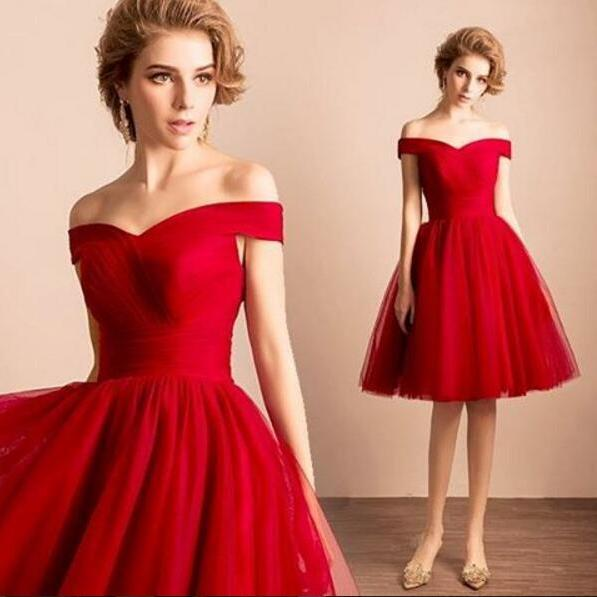 Red Prom Dress, Short Prom Dress, Tulle Prom Dress, Cheap Graduation Dresses, Cheap Prom Dress, V Neck Prom Dress, Prom Dresses 2017, Formal Party Dresses