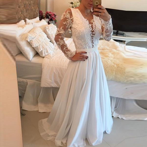 Ivory Prom Dress, Lace Prom Dress, Long Sleeve Prom Dress, Elegant Prom Dress, Applique Prom Dress, Peals Prom Dress, Prom Dresses 2017