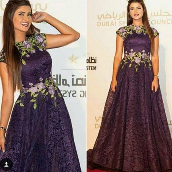 Purple Prom Dress, Lace Prom Dress, Elegant Prom Dress, Cap Sleeve Prom Dress, A Line Prom Dress, Vintage Prom Dress, Embroidery Flowers Prom Dress, Floor Length Prom Dress, Cheap Prom Dress, Prom Dresses 2017, Arabic Evening Gowns