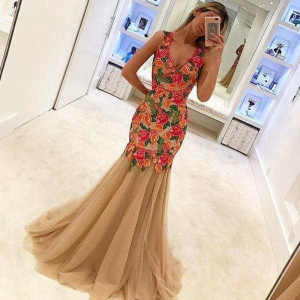 Embroidery Lace Evening Dress, Mermaid Evening Dress, Champagne Evening Dress, Long Evening Dress, Cheap Evening Dress, V Neck Evening Dress, Off Shoulder Evening Dress, Tulle Evening Dress, Cheap Evening Dress