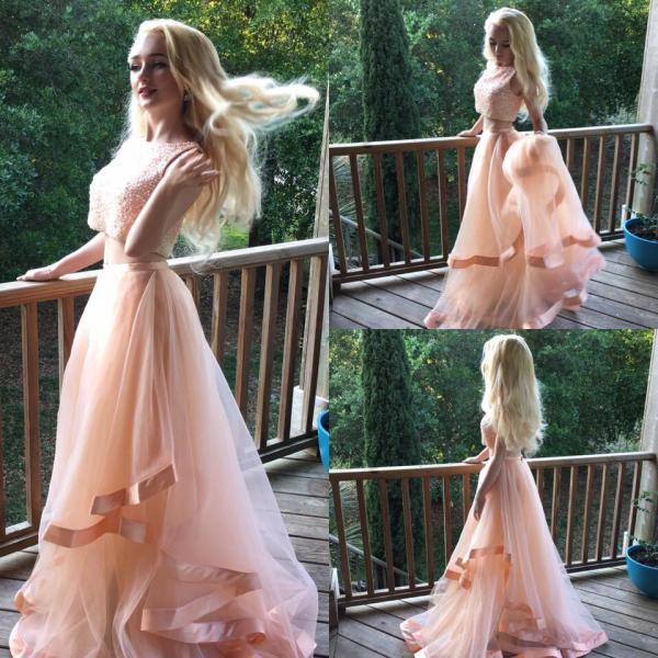 Beaded Prom Dress, A Line Prom Dress, Two Piece Prom Dresses, Pink Prom Dress, Tiered Prom Dress, Senior Formal Dress, Women Formal Dress, Elegant Prom Dresses, A Line Prom Dress