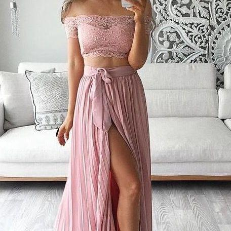 Dusty Pink Prom Dress, 2 Piece Prom Dresses, Chiffon Prom Dress, Sexy Prom Dress, Lace Prom Dress, Side Slit Prom Gowns, A Line Prom Dresses, Boat Neck Prom Dress, Short Sleeve Prom Dress, Vestido De Festa De Longo
