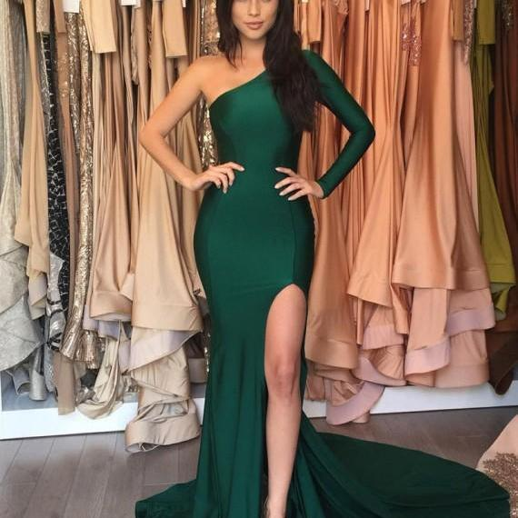 One Shoulder Prom Dress, Hunter Green Prom Dress, Elegant Prom Dress, Long Prom Dress, Mermaid Prom Dress, Sexy Formal Dress, Side Slit Prom Dress, Cheap Prom Dress, Prom Dresses 2017, Simple Prom Dress