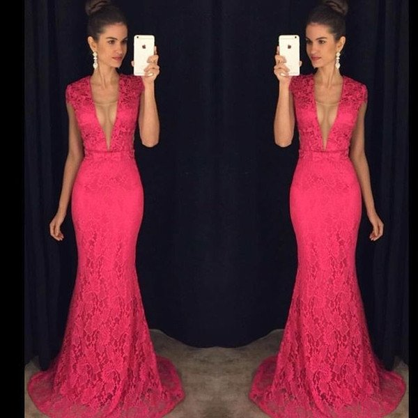 Cap Sleeve Prom Dress, Lace Prom Dress, Hot Pink Prom Dress, Long Prom Dress, Mermaid Prom Dress, Deep V Neck Prom Dress, Elegant Prom Dress, Prom Dresses 2017, Cheap Formal Party Dresses, Elegant Prom Dress
