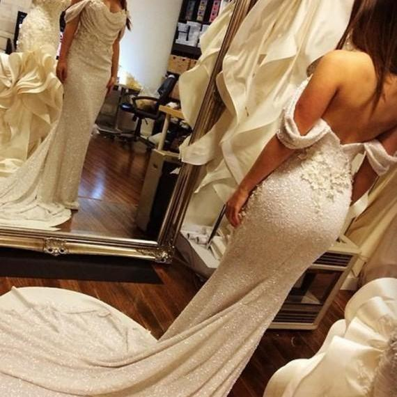 Sequins Evening Dress, Ivory Evening Dress, Lace Flowers Evening Dress, Mermaid Evening Dress, Off Shoulder Evening Dress, Sparkly Evening Dress, Sexy Evening Dress, Elegant Evening Dress, Arabic Evening Gowns