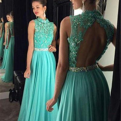 Turquoise Blue Prom Dress, Lace Prom Dress, Rhinestones Prom Dress, Prom Dresses 2017, Cheap Prom Dress, Elegant Prom Dress, Long Prom Dress, Evening Dresses 2017, A Line Prom Dress, Backless Prom Dress, Chiffon Prom Dress
