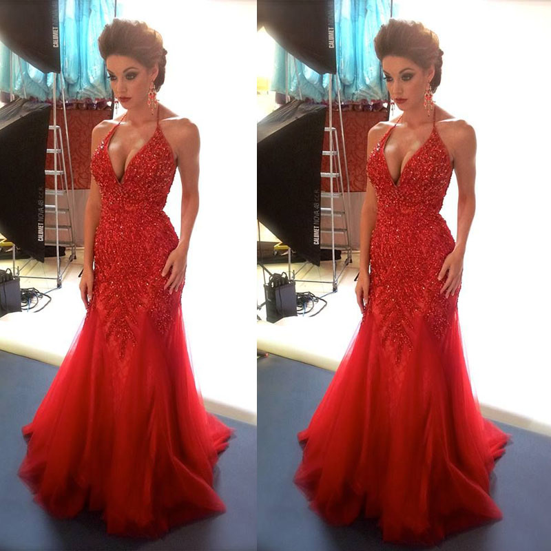Sexy Red Mermaid Evening Dresses 1469a88dd461
