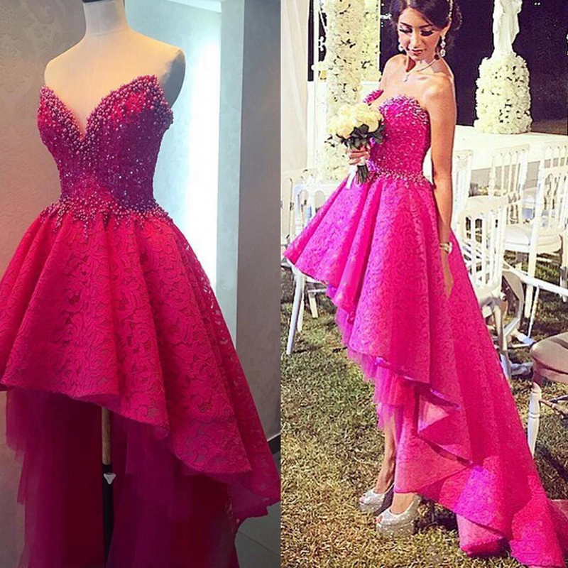 High Low Prom Dress, Lace Prom Dress, Hot Pink Prom Dress, Hot Pink ...